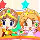 Принц и принцесса собирают фрукты