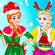 Праздничная рождественская одевалка Анны и Эльзы